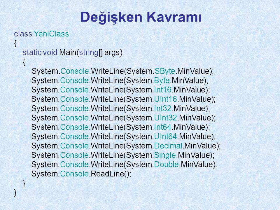 Değişken Kavramı class YeniClass { static void Main(string[] args)
